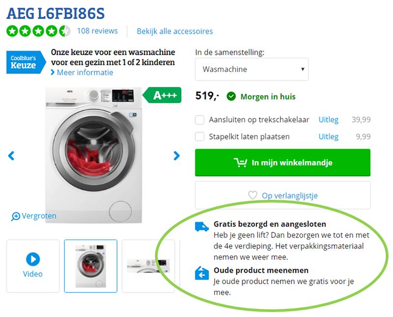 Coolblue wasmachine waardepropositie